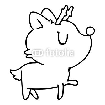 400x400 Line Drawing Of Kawaii Cute Deer Buy Photos Ap Images Detailview