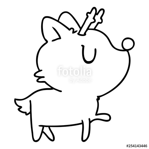 500x500 Line Drawing Of Kawaii Cute Deer Stock Image And Royalty Free