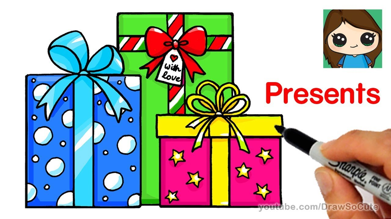 1280x720 How To Draw Presents Easy Christmas Gifts