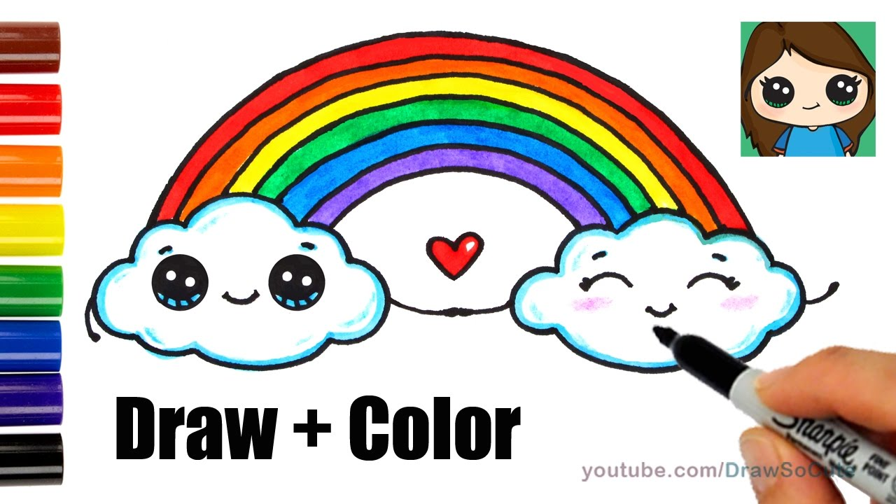 1280x720 How To Draw A Rainbow And Clouds Easy With Coloring