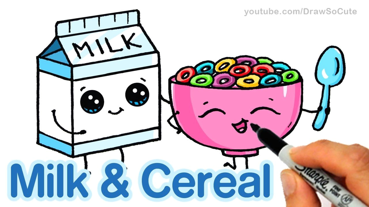 1280x720 Cute Drawing Of Food How To Draw Milk And Cereal Step