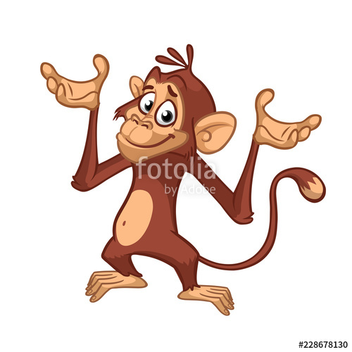500x500 Cute Excited Monkey Cartoon Icon Vector Illustration Of Drawing