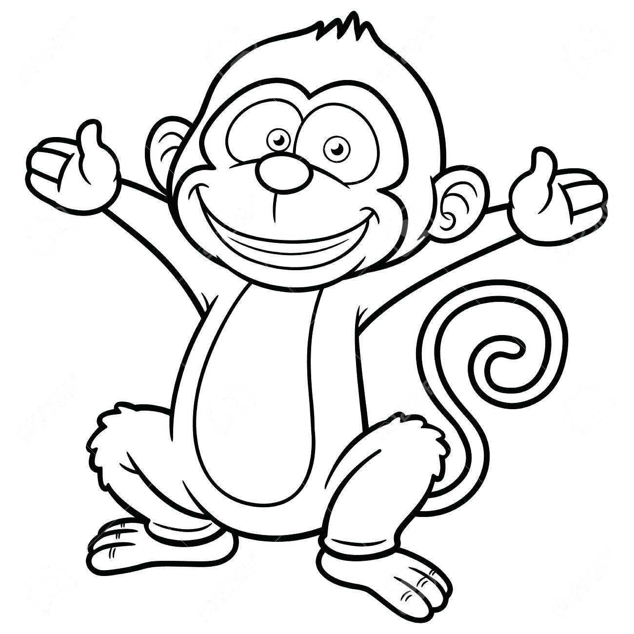 1300x1300 Immediately Outline Of A Monkey Drawing