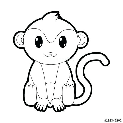 500x500 Outline Of A Monkey Outline Monkey Cute Wild Animal Character