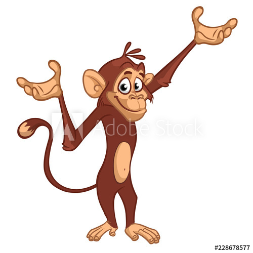 500x500 Cute Monkey Chimpanzee Flat Bright Color Simplified Vector