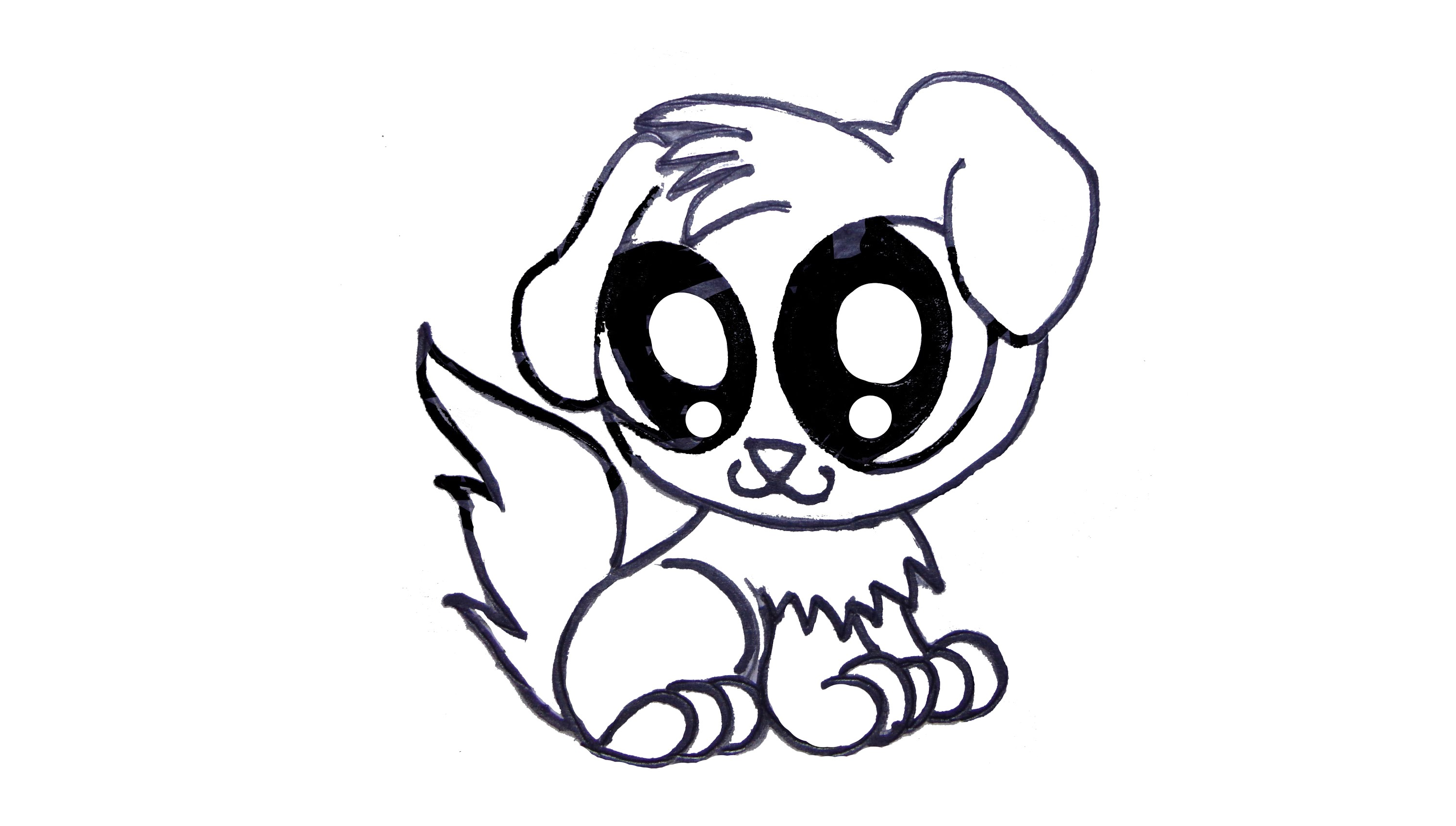 3000x1703 Cute Drawing Of A Puppy