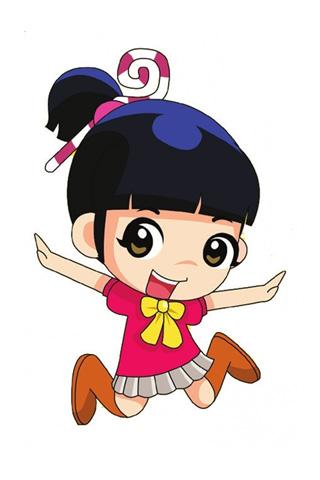 320x480 Cute Girl Cartoon Group With Items