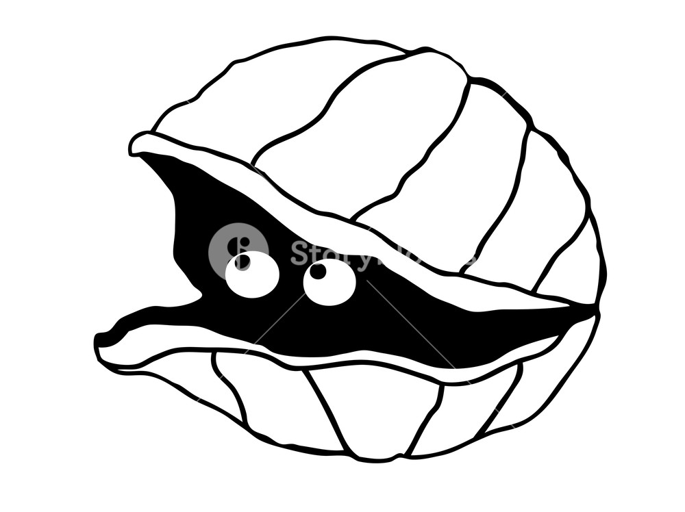 1000x748 Cute Illustration Of A Simple Clam With Eyes Look Out Of The Shell