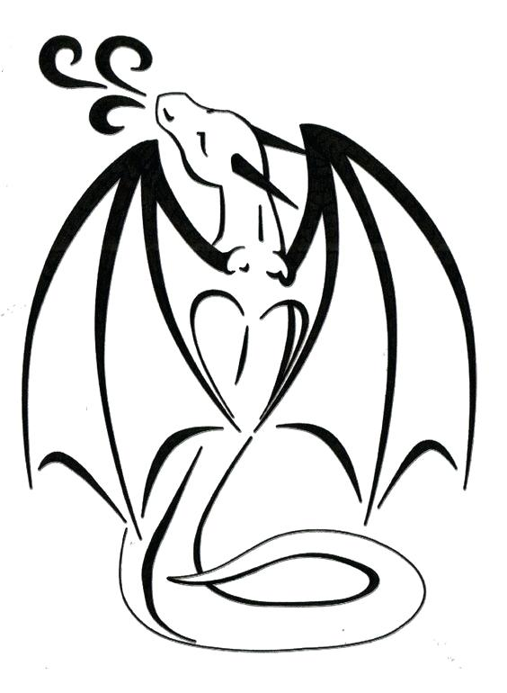 564x770 Dragon Easy Cute Black Outline Dragon Tattoo Design How To Draw