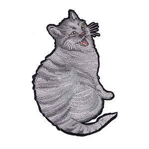 300x300 Cute Fat Cat Design Embroidered Applique Backpatch Clothes Patches