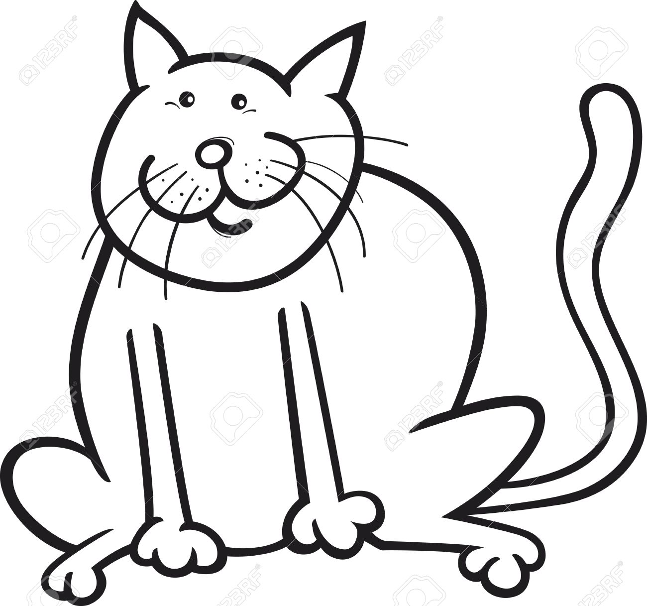 1300x1217 Fat Cat Clipart Black And White