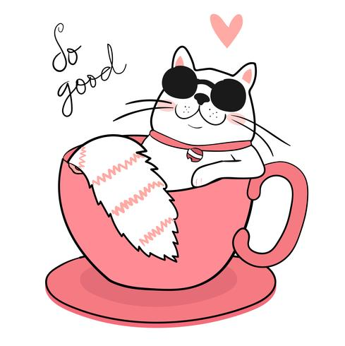 489x490 Cute White Fat Cat With Sun Glasses Sleeping In A Coffee Cup, Draw