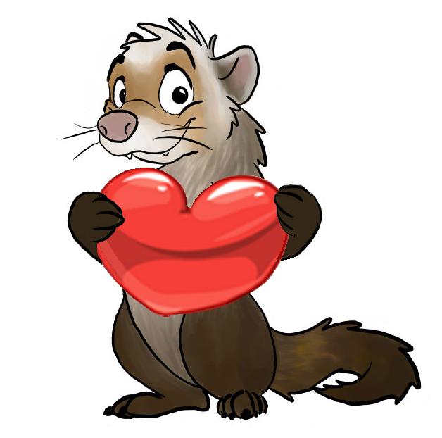 628x622 cute cartoon ferret holding a love heart cartoon cute cartoon