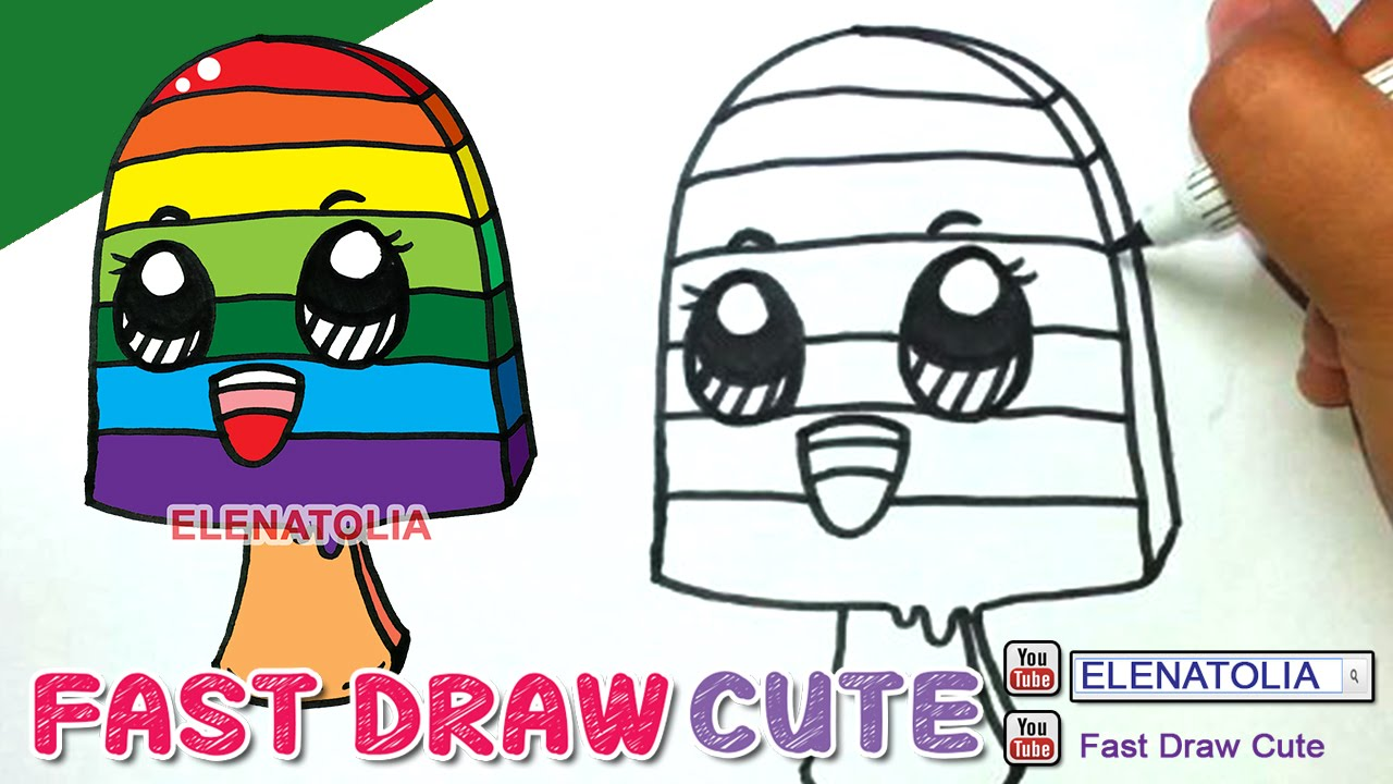 1280x720 How To Draw Rainbow Ice Cream Step