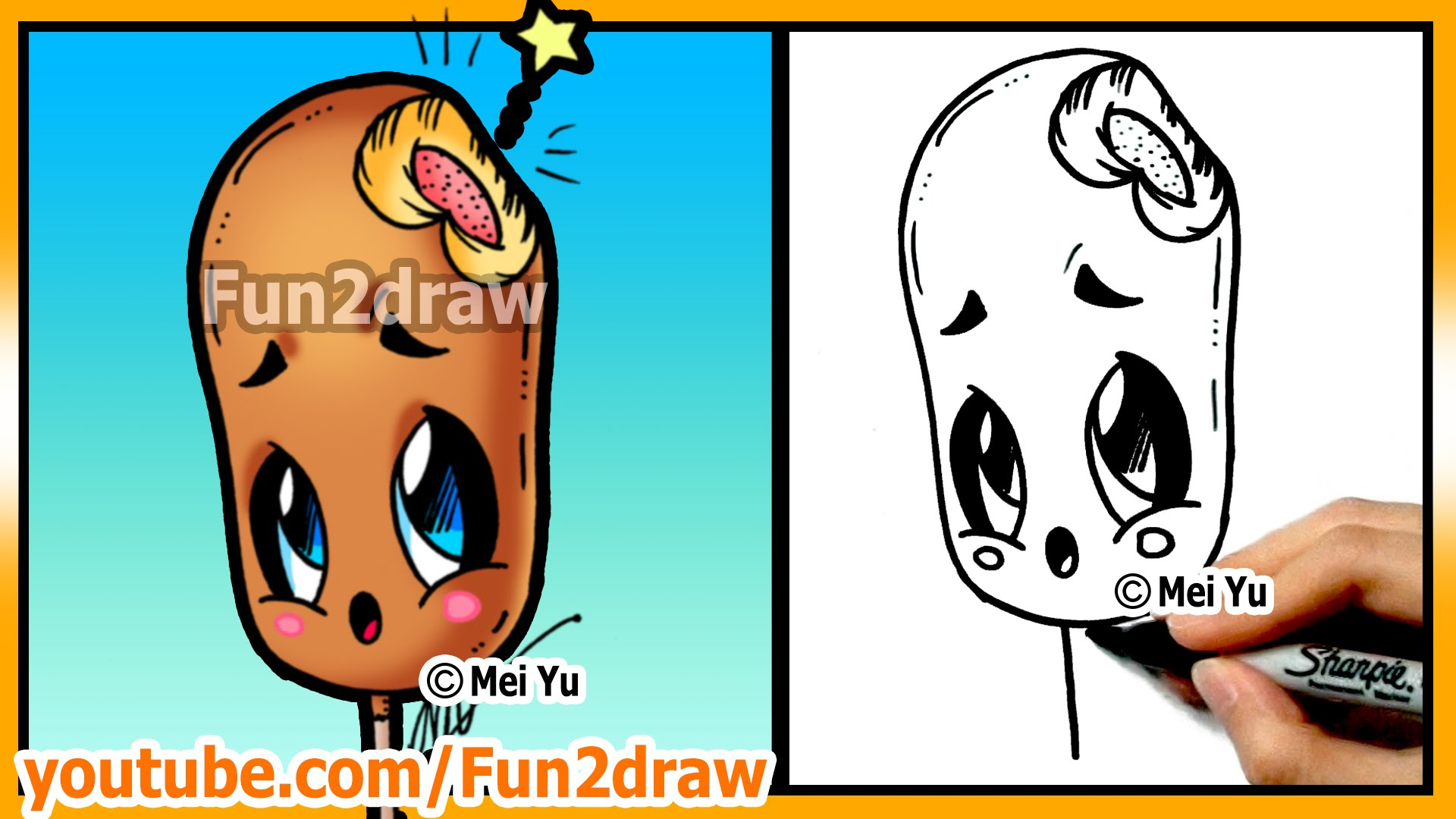 1920x1080 Learn To Draw Easy Things Cute Food Corn Dog Drawings