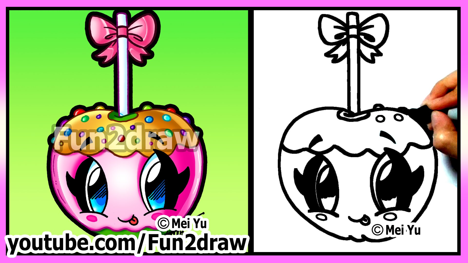 1920x1080 Cute Candy Apple How To Draw Halloween Pictures Easy Food