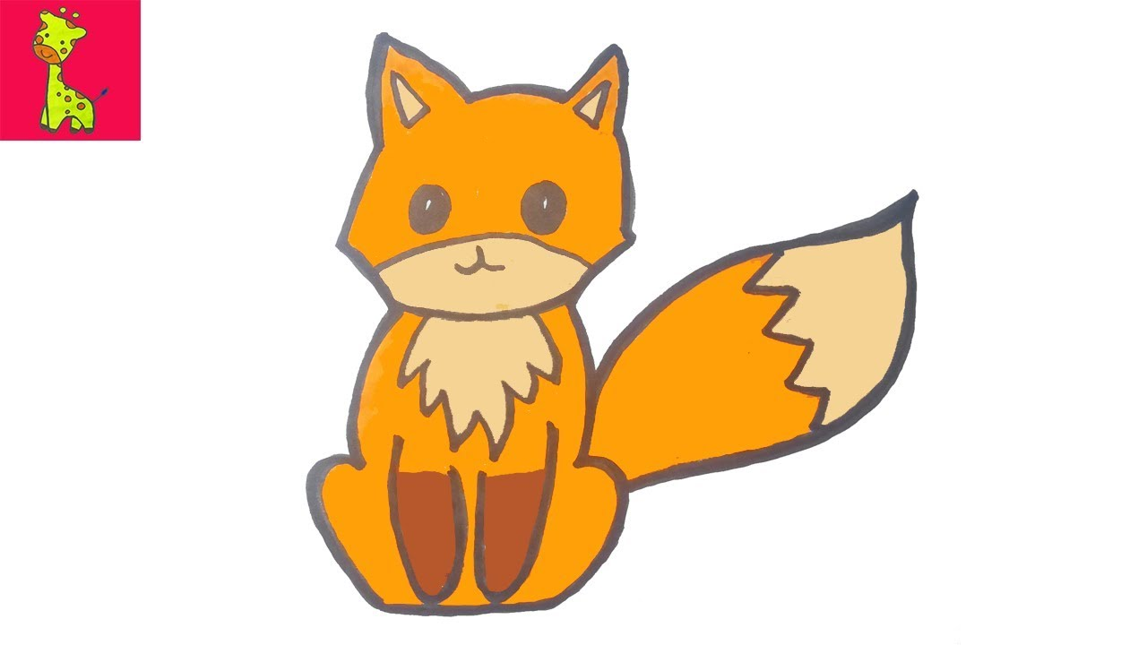 1280x720 Cute Fox Drawing And Coloring Pages For Kids Kids Drawing