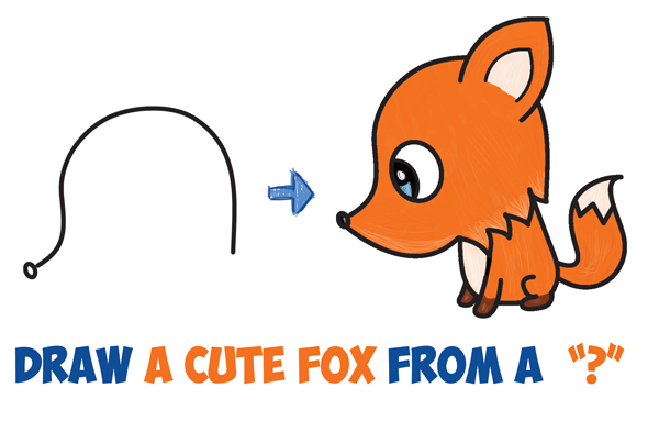 600x403 How To Draw A Cute Cartoon Fox From A Question Mark