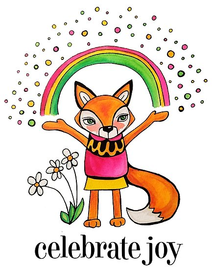 435x550 Celebrate Joy Cute Fox Drawing Watercolor Illustration Posters