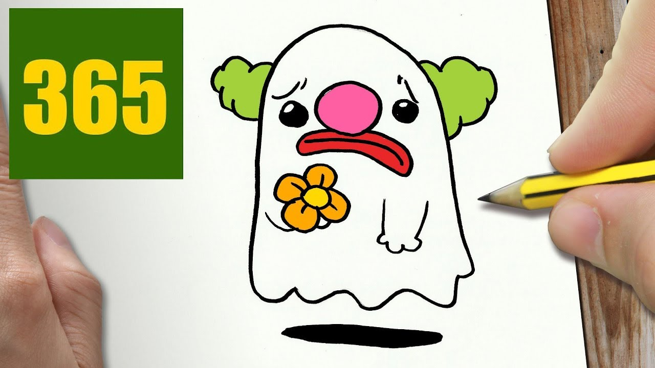 1280x720 How To Draw A Ghost Clown Cute, Easy Step