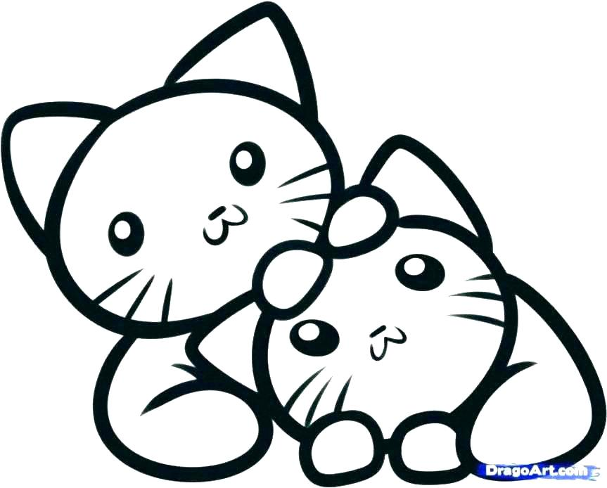 863x694 How To Draw Coloring Cute Kitten Image Coloring Pages