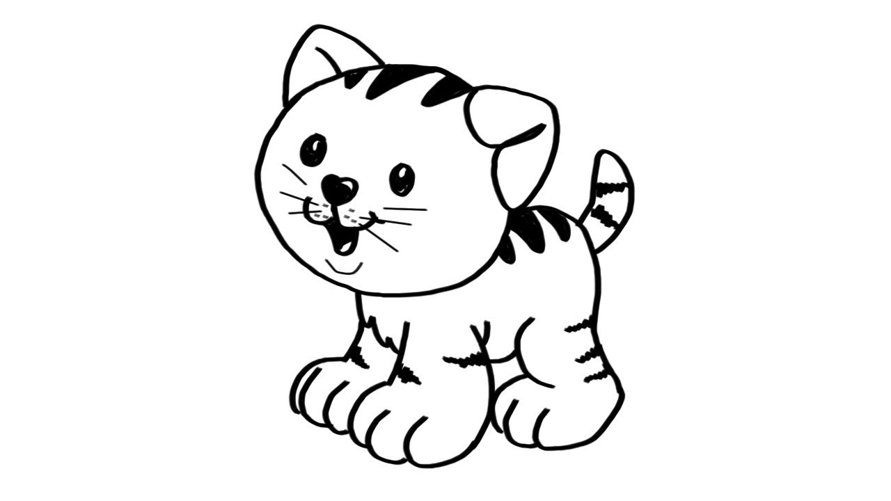 1280x720 How To Draw A Cute Kitten Step