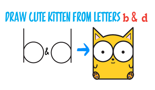 500x291 How To Draw Cartoon Baby Kitty Cat Or Kitten From Letters Easy