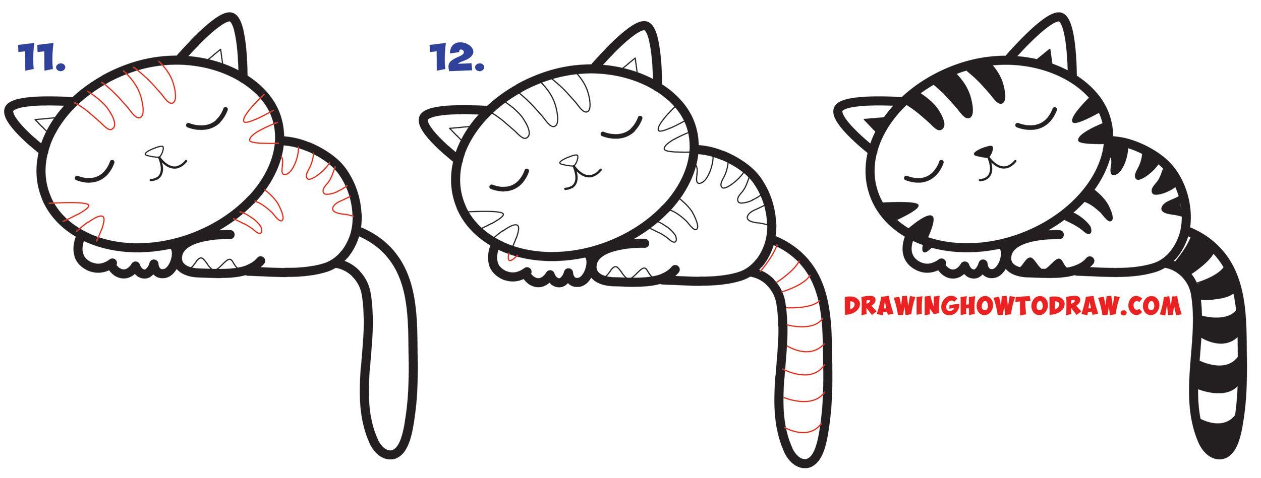 2500x949 How To Draw A Supercute Kawaii Cartoon Cat Kitten Napping Easy