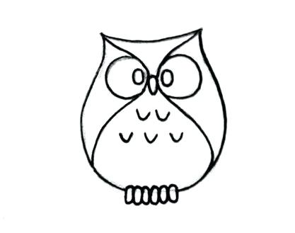 417x329 owl simple drawing how to draw a cute owl owl drawing instructions