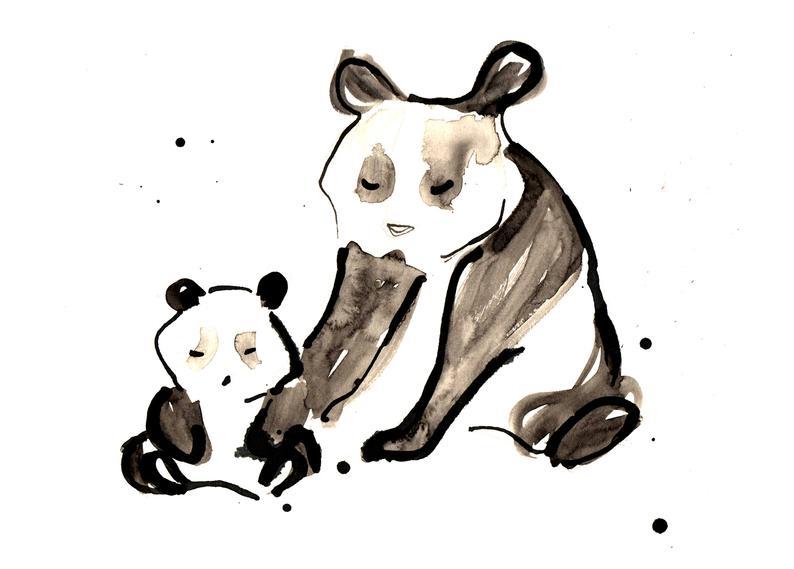 794x569 New Baby Card Card From Bump Panda Bear Cute Panda Bears Etsy