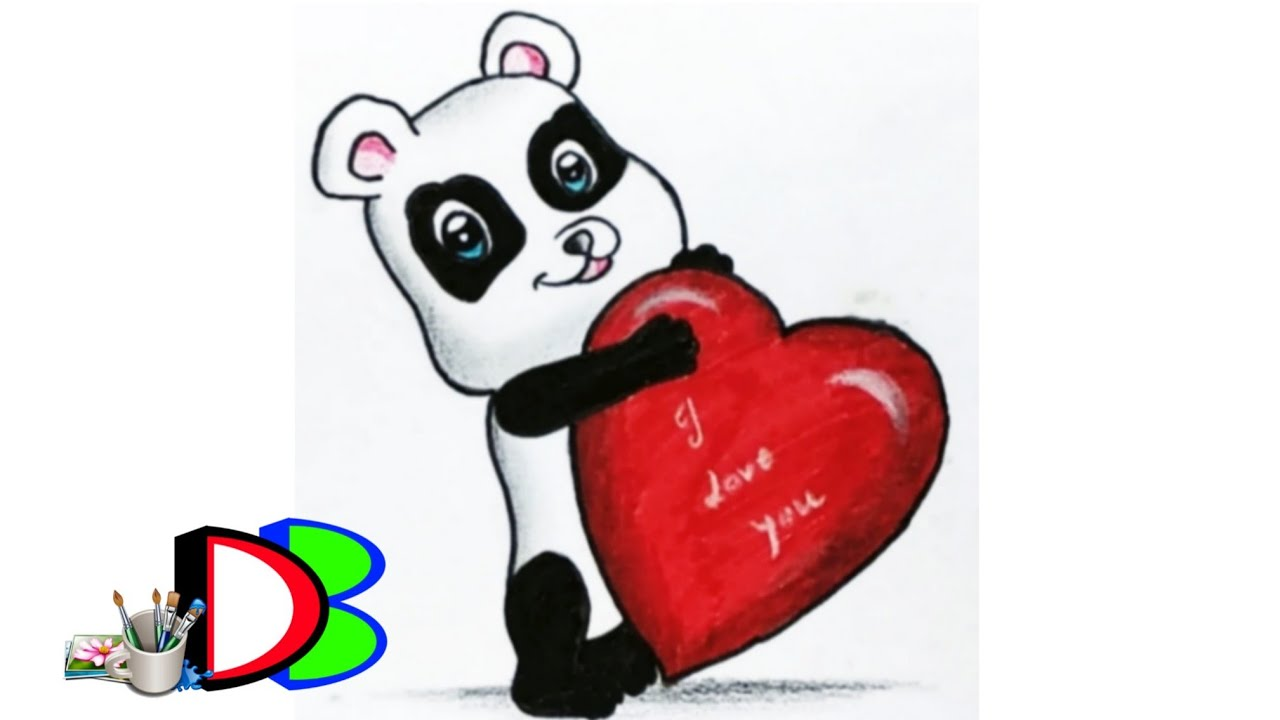 1280x720 How To Draw A Cute Panda With Love Sign Valentine's Day Heart