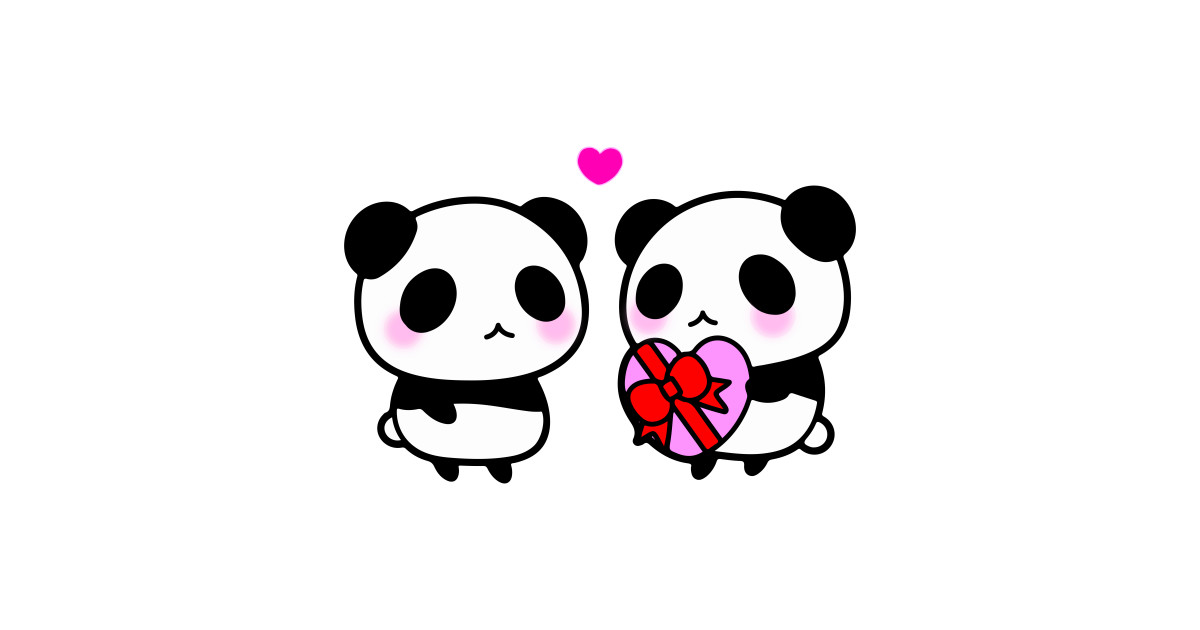 1200x630 Two Cute Pandas Pink Heart Valentine Gift Blush