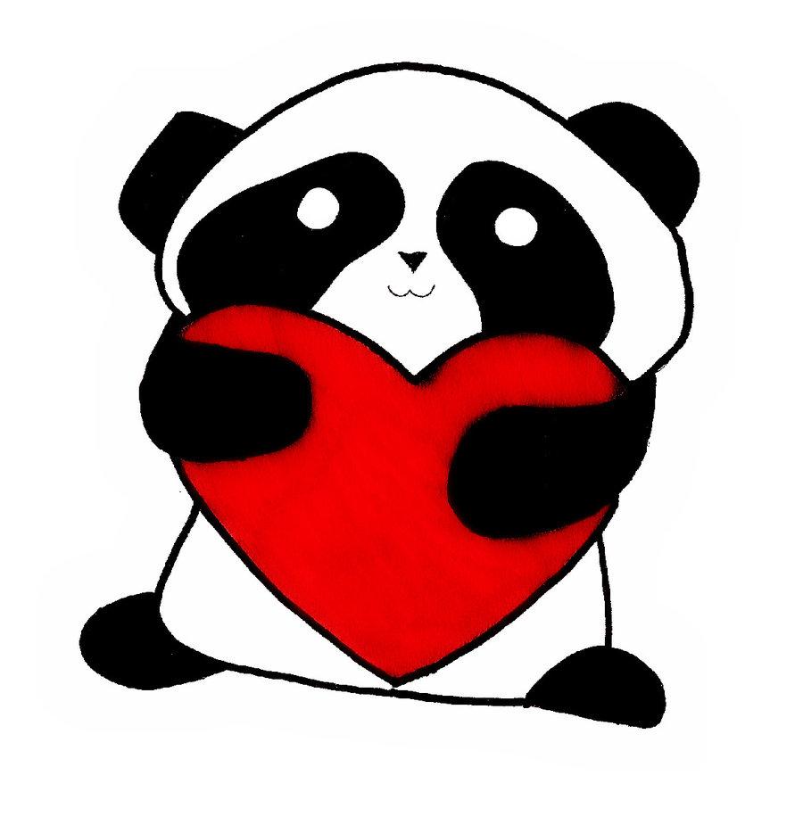 900x925 Cute Panda Love Drawing