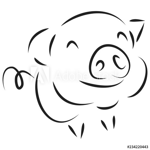 500x500 Drawing Of Cute Pig Illustration Simple Concept Zodiac Of Pig