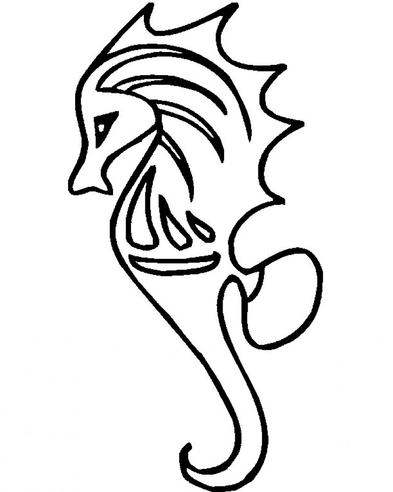 800x1001 Seahorse Drawing Cute For Free Download