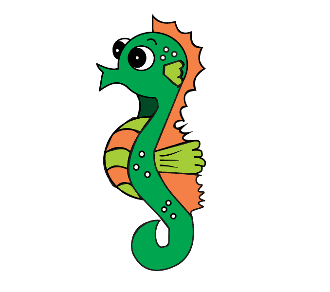 678x600 How To Draw A Seahorse Step