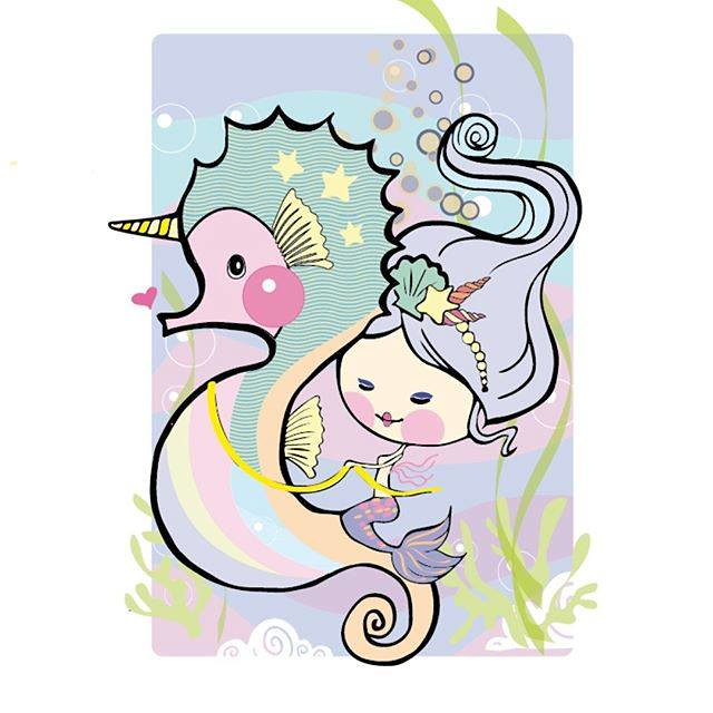 640x640 Seahorse Unicorn Colored