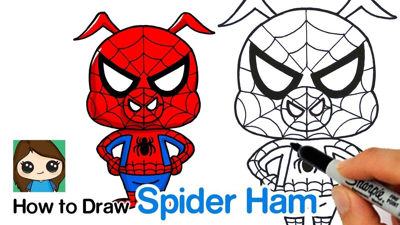 1280x720 how to draw spider ham spider man into the spider verse kawaii