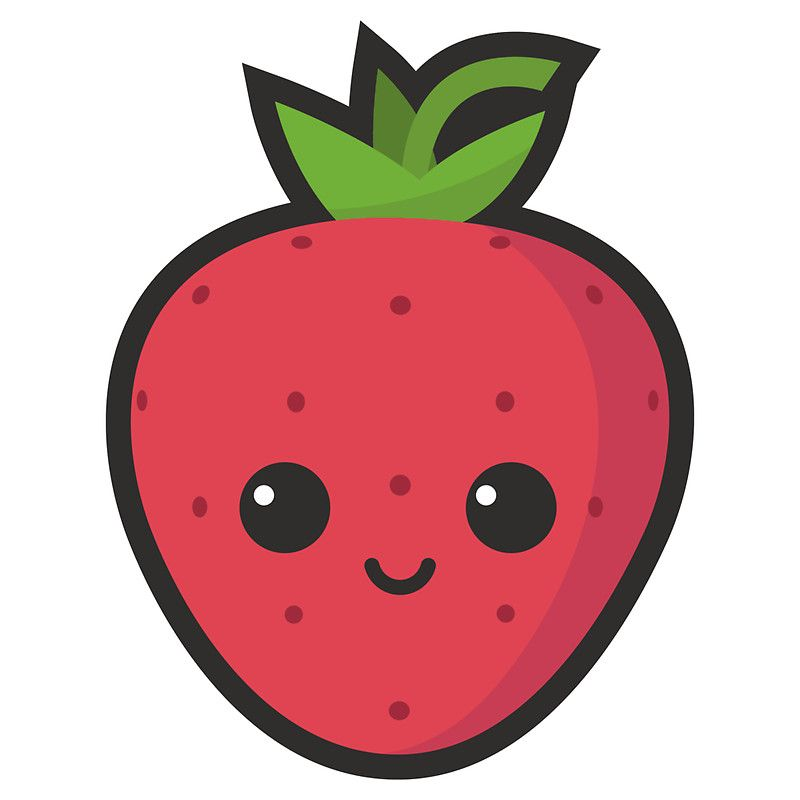800x800 cute strawberry sticker in super kawaii cute strawberry