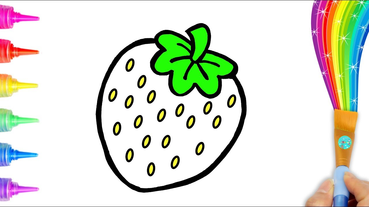 1280x720 Cute Strawberry Coloring And Drawing For Kids, Toddlers Creative