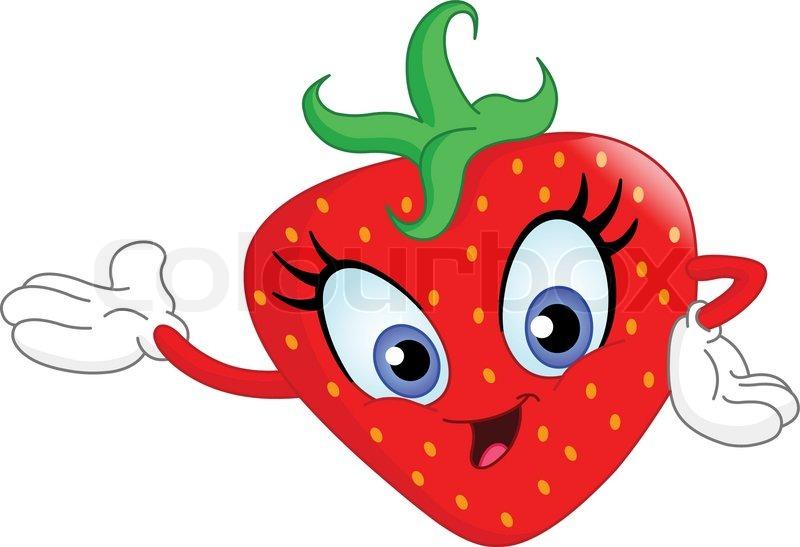 800x547 Cute Cartoon Strawberry Presenting Stock Vector Colourbox