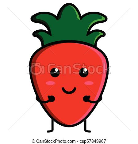 450x470 Cute Strawberry Emoticon Image Vector Illustration Design