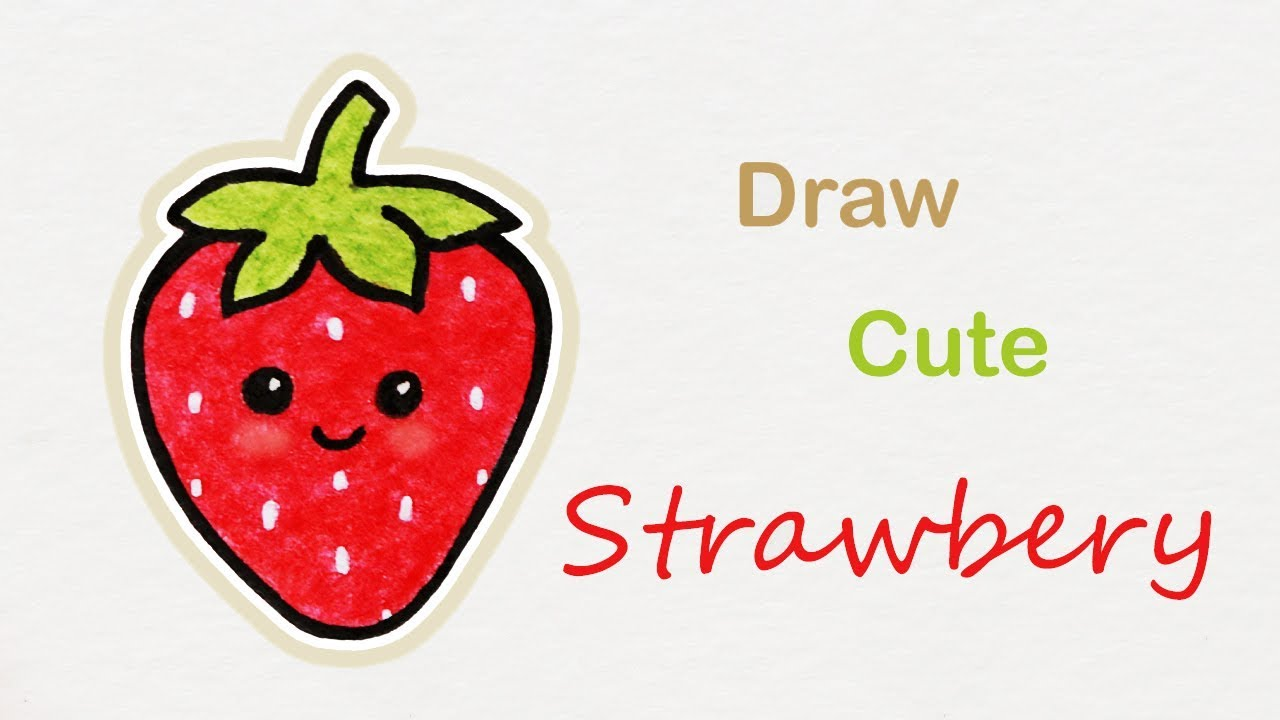 1280x720 How To Draw A Cute Strawberry Step