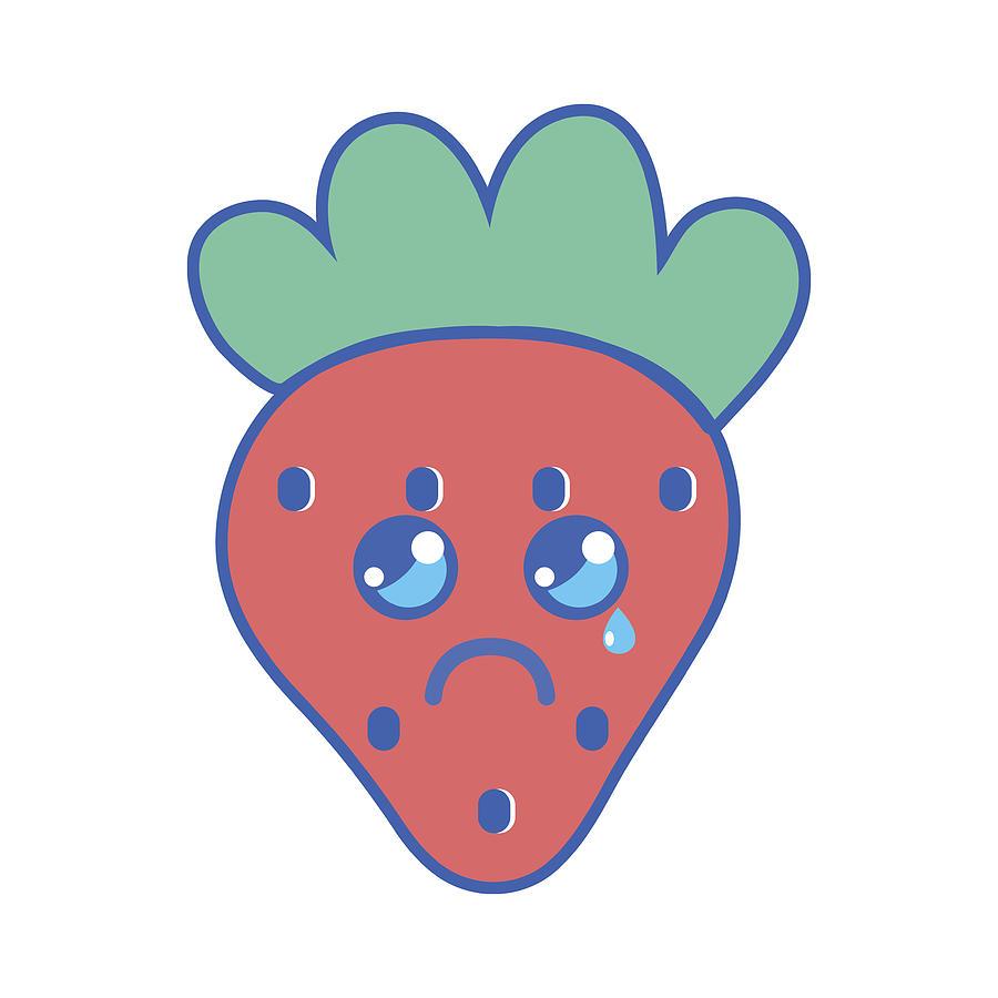900x900 Kawaii Cute Crying Strawberry Fruit Drawing