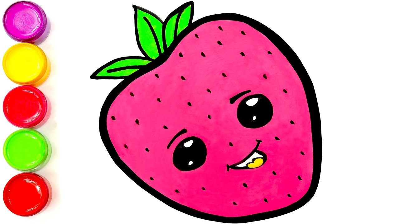 1280x720 Learn Drawing Cute Strawberry For Kids Drawing Video Tutorial