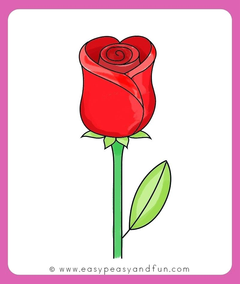 801x945 Easy Drawing Roses A Simple Rose Design With Heart Amazing Easy