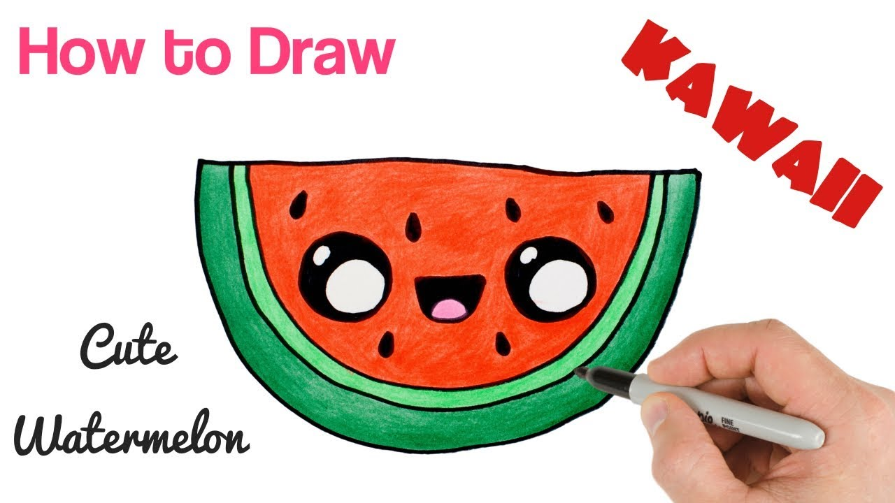 1280x720 how to draw a watermelon cartoon and cute super easy