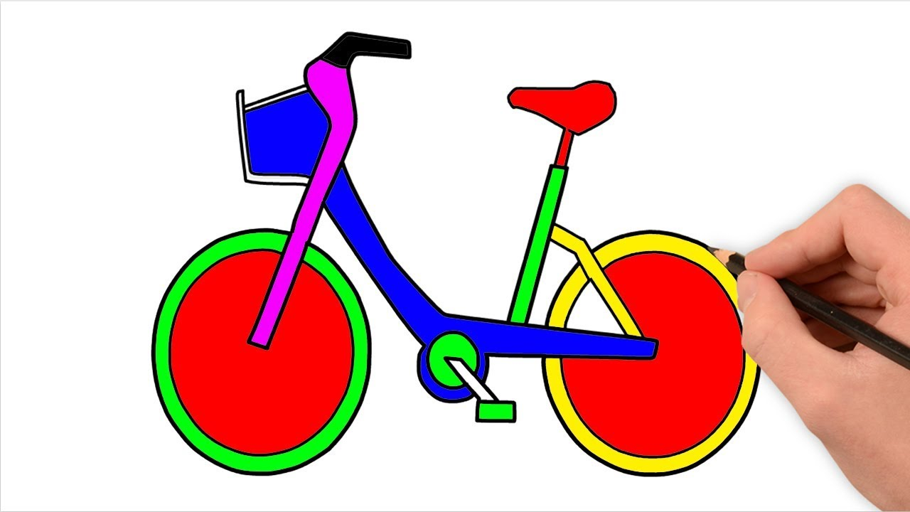 1280x720 Easy Bicycle Drawing For Kids Drawing Colouring A Bicycle
