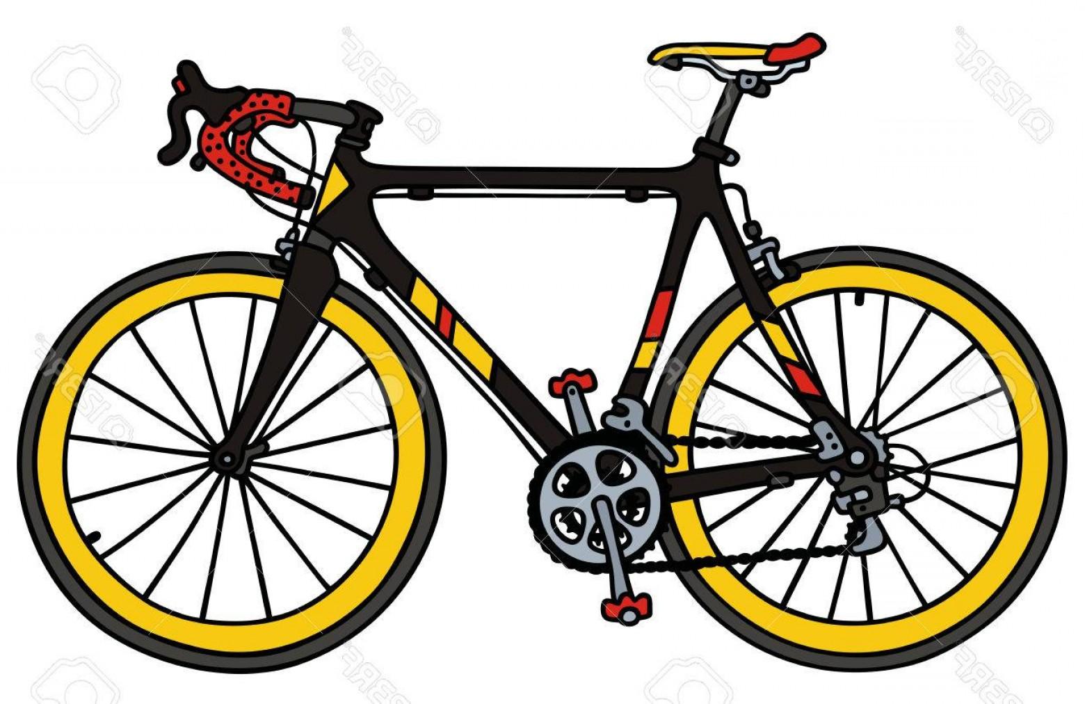 1560x1012 Photostock Vector Hand Drawing Of A Black Road Racing Bike