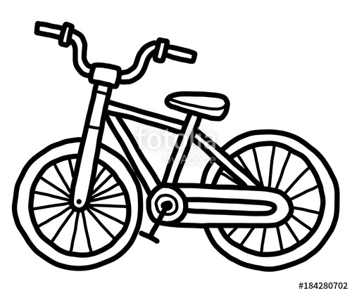 500x417 Small Bicycle Cartoon Vector And Illustration, Black And White
